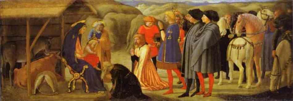 Masaccio. La Adoración de los Reyes Magos. Predela del altar de Pisa.