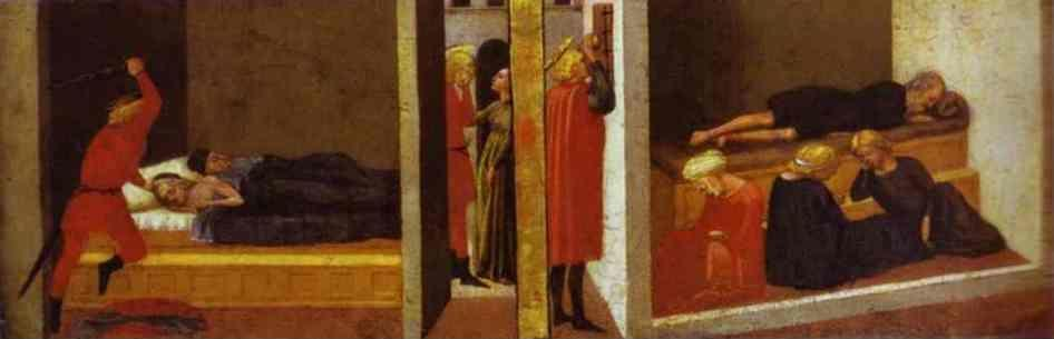 Masaccio. St. Julian Slaying His Parents.  St. Nicholas Saving Three Sisters From Prostitution.  Predella  from the Pisa Altar.
