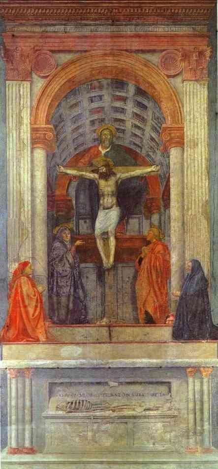 Masaccio. The Holy Trinity with the Virgin,  St. John and Two Donors.