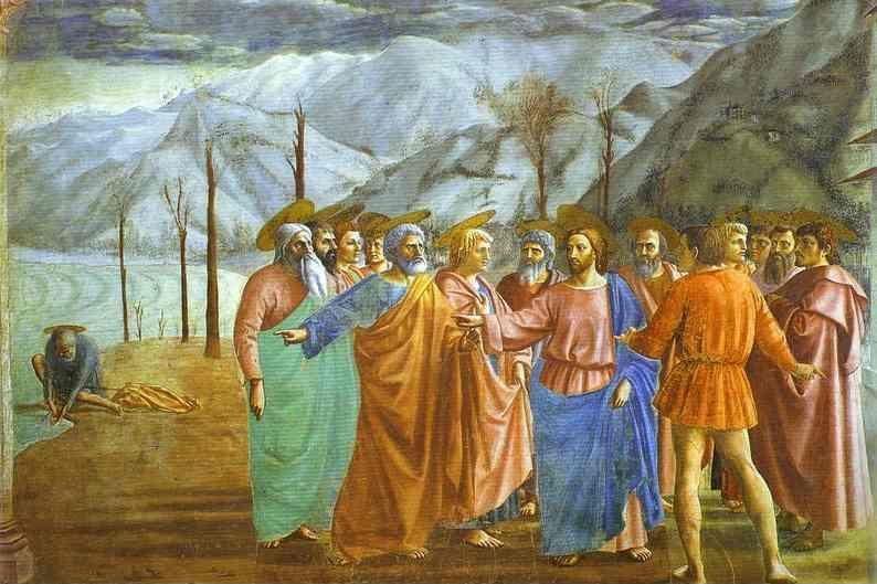 Masaccio. Rendering of the Tribute Money  (detail).