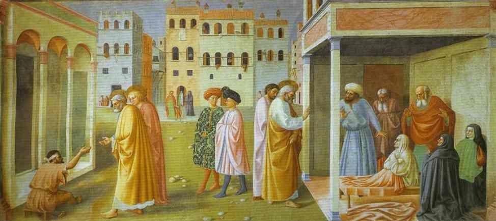Masolino. Healing of a Cripple and the Raising  of Tabitha.