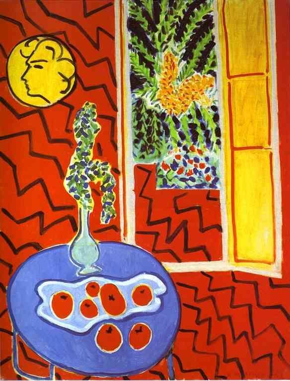 Henri Matisse. Red Interior. Still Life on  a Blue Table.