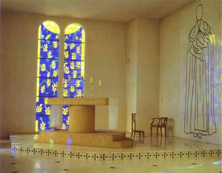 Henri Matisse. Interior of the Chapel of the Rosary, Vence. At left: The Tree of Life, stained glass. At right: St. Dominic, ceramic tiles.