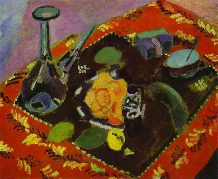 Henri Matisse. Dishes and Fruit on a Red  and Black Carpet.