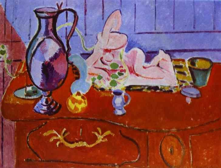 Henri Matisse. Pink Statuette and Pitcher  on a Red Chest of Drawers.