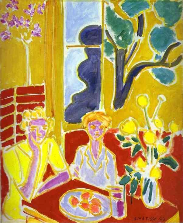 Henri Matisse Two Girls With Yellow And Red Background