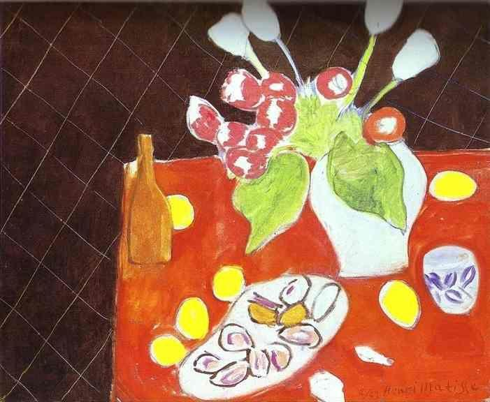Henri Matisse. Tulips and Oysters on Black  Background.