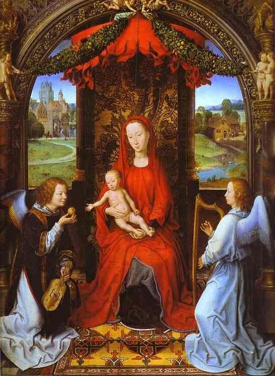 Hans Memling. Madonna and Child with  Two Angels.