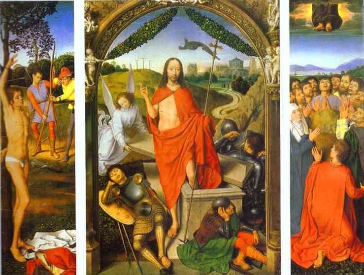 Hans Memling. The Resurrection, with  the Martyrdom of St. Sebastian and the Ascension.