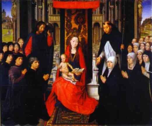 Hans Memling. The Virgin and Child  between St. James and St. Dominic, Presenting the Donors and Their Families,  known as the Virgin of Jacques Floreins.