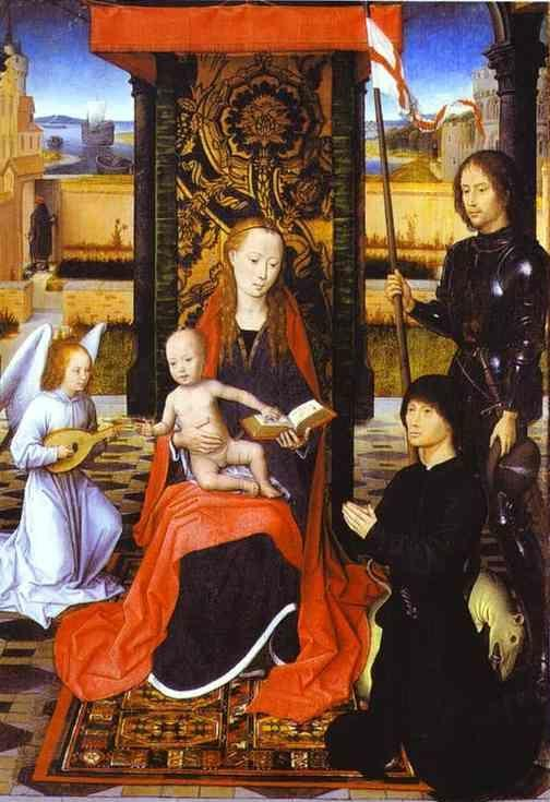 Hans Memling. The Virgin and Child  with an Angel, St. George and a Donor.