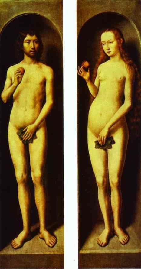 Hans Memling. Adam and Eve. The reverse  side of the wings of the Altar of Saints John the the Baptist and John  the Evangelist.