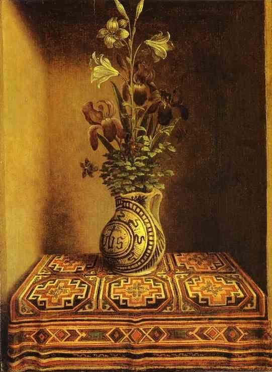 Hans Memling. Still Life with a Jug  with Flowers. The reverse side of the Portrait of a Praying Man.