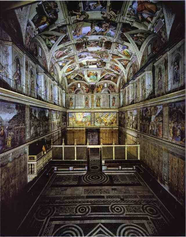 Michelangelo. The interior of the Sistine Chapel showing the ceiling fresco.