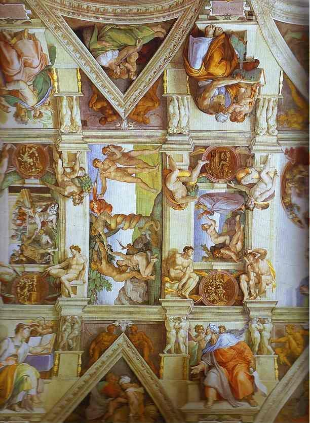 Michelangelo. Partial view of the the frescoes in the Sisine Chapel.
