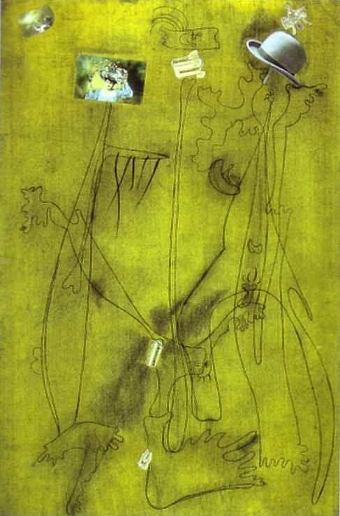 Joan Miró. Drawing-Collage with a  Hat.