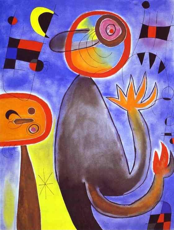 Joan Miró. Ladders Cross the Blue  Sky in a Wheel of Fire.