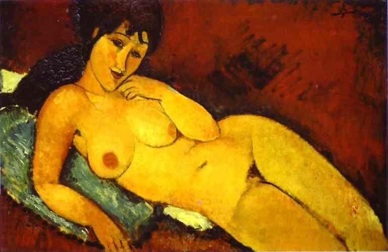 Amedeo Modigliani. Nude on a Blue Cushion.