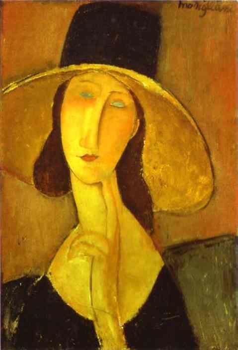 Amedeo Modigliani. Portrait of Woman in Hat  (Jeanne Hébuterne in Large Hat).