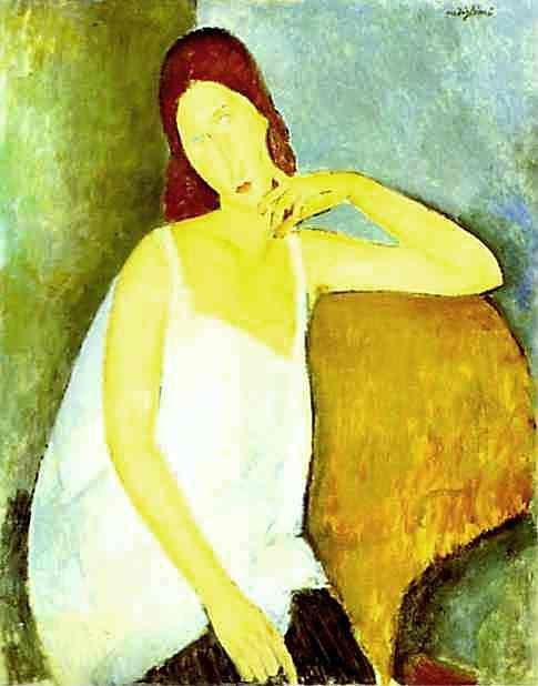 Amedeo Modigliani. Portrait of Jeanne Hébuterne  (1898 -1920), Common-Law Wife of Amedeo Modigliani.