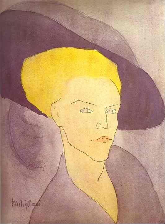 Amedeo Modigliani. Head of a Woman with a  Hat.