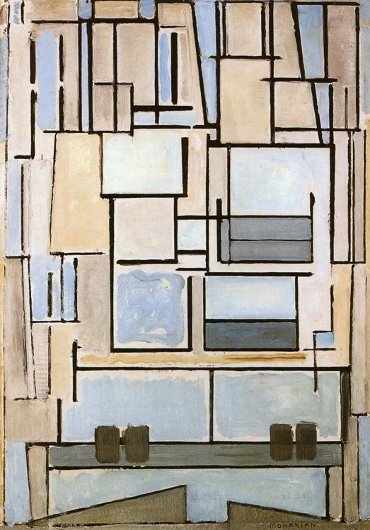 Piet Mondrian. Composition No.9, Blue Façade  / Compositie nr.9 Blue Façade.