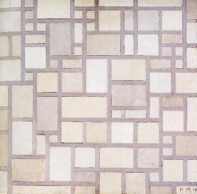 Piet Mondrian. Composition: Light Color Planes  with Grey Contours.