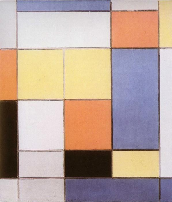 Piet Mondrian. Composition with Red, Blue  and Yellowish-Green / Compositie met rood, blauw en geel-groen.