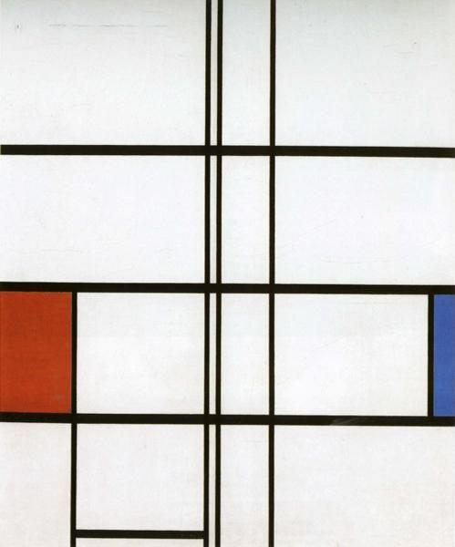 Piet Mondrian. Composition with Red and Blue.  / Compositie met rood en blauw.