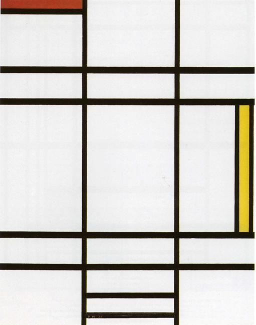 Piet Mondrian. Conposition with White, Red  and Yellow. / Compositie met wit, rood en geel.