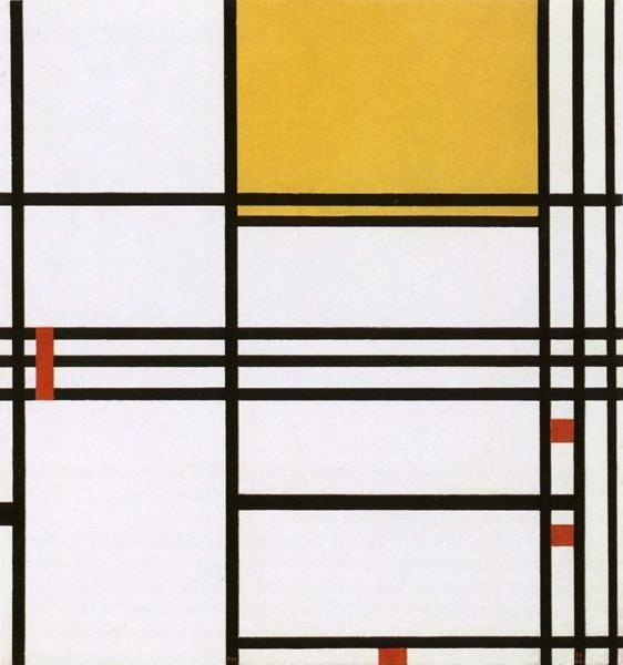 Piet Mondrian. Composition with Black, White,  Yellow and Red / Compositie met zwart,wit,geel en rood.