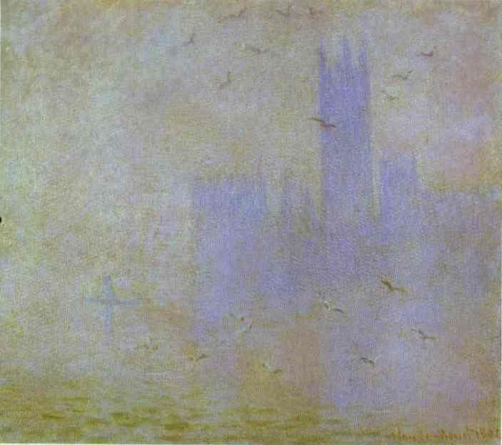 Claude Monet. Seagulls (The Thames. Houses of Parliament.).