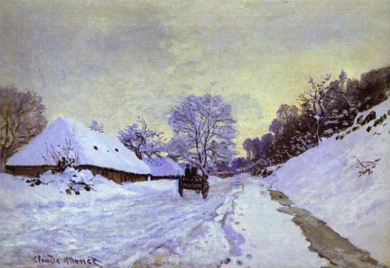 Claude Monet. The Cart; Snow-Covered Road at Honfieur, with Saint-Simeon Farm.