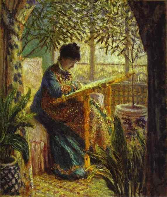 Claude Monet. The Woman at Work (Camille Monet Embroidering).