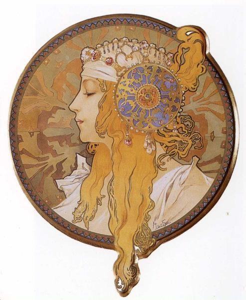 Alphonse Mucha. Byzantine Head: The Blonde.