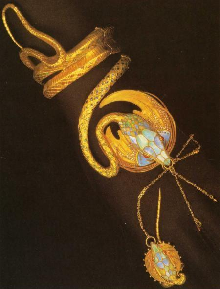 Alphonse Mucha. Serpentine Bracelet with Ring.