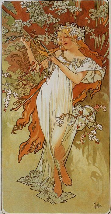 Alphonse Mucha. Spring. From The  Seasons Series.