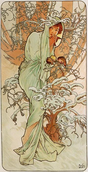 Alphonse Mucha. Winter. From The Seasons Series.