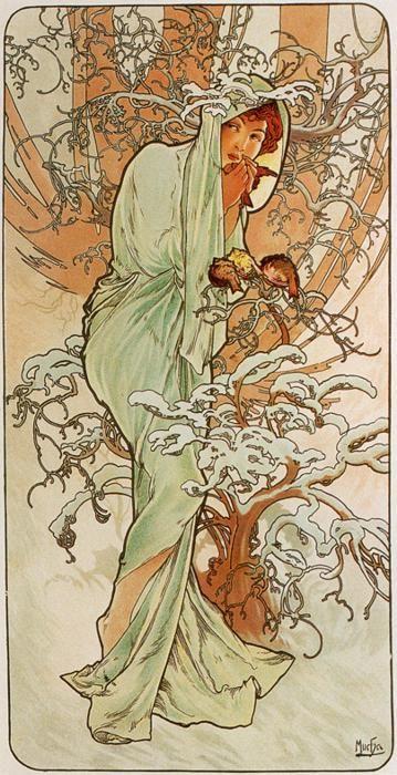 359 x 723 jpeg 83kB, Alphonse Mucha. Winter. From The Seasons Series ...