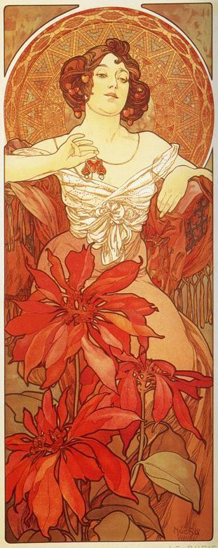 Alphonse Mucha. Ruby. From The  Precious Stones Series.