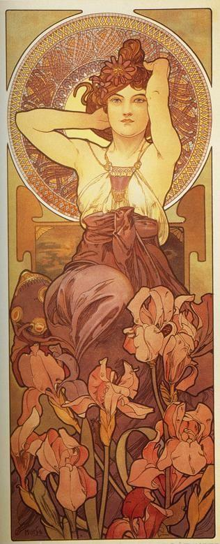 Alphonse Mucha. Amethyst. From The  Precious Stones Series.