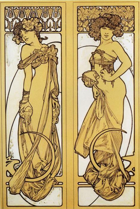 Alphonse Mucha. Two Standing Women. Design for Documents décoratifs ...