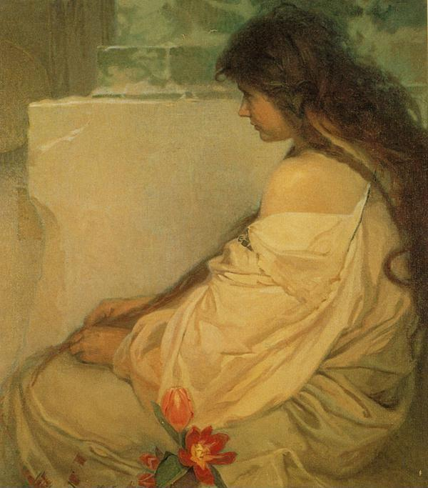 Alphonse Mucha. Girl with Loose Hair and  Tulips.