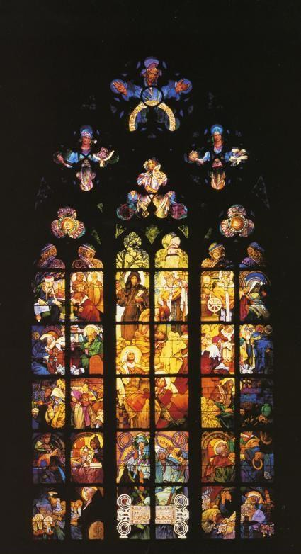 Alphonse Mucha. Stained-Glass Window in St. Vitus Cathedral.