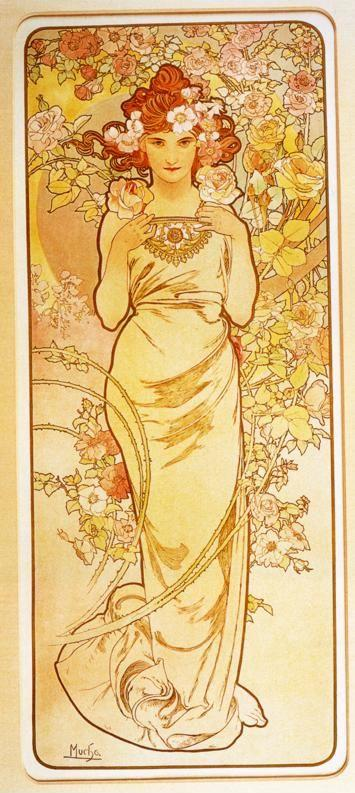 Alphonse Mucha. Rose. From The Flowers Series.