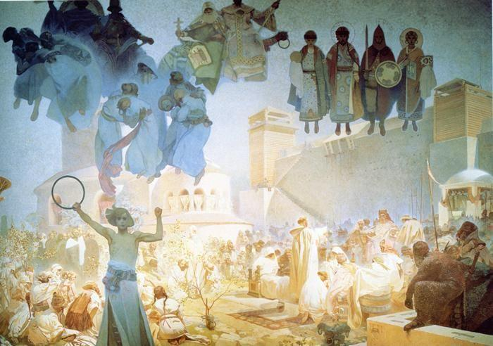 Alphonse Mucha. The Introduction of the Slavonic  Liturgy.