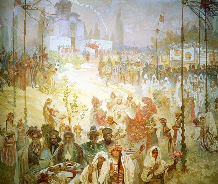 Alphonse Mucha. The Coronation of the Serbian  Tsar Stepan Dusan as East Roman Emperor.