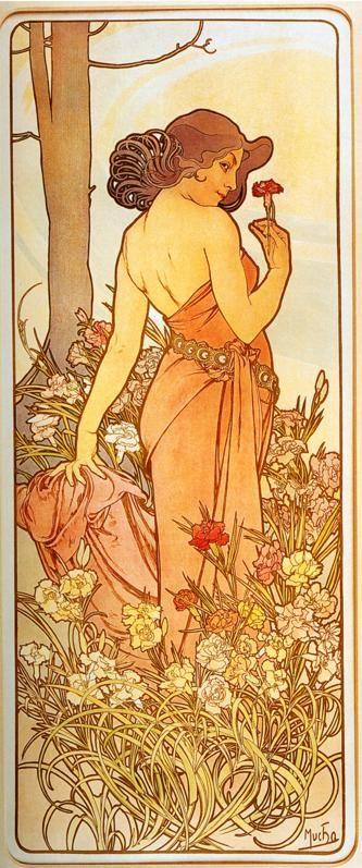 Alphonse Mucha. Carnation. From The  Flowers Series.