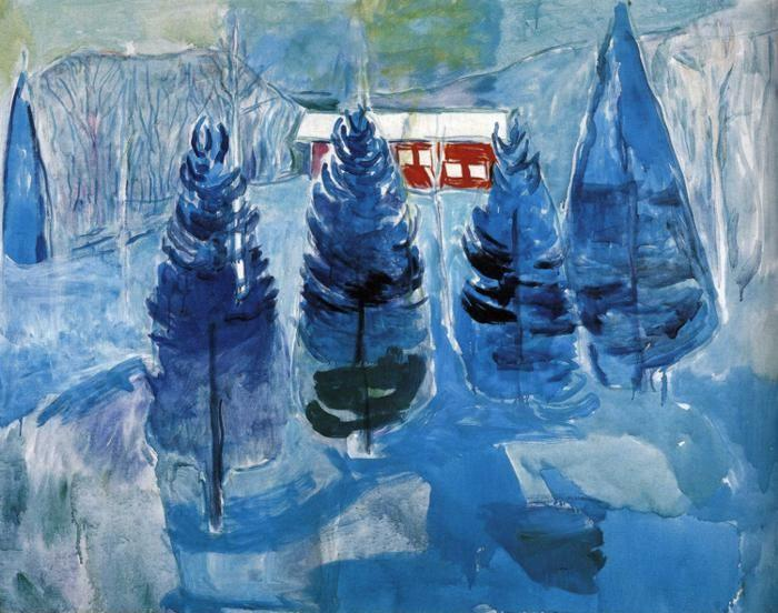Edvard Munch. Red House and Spruces.