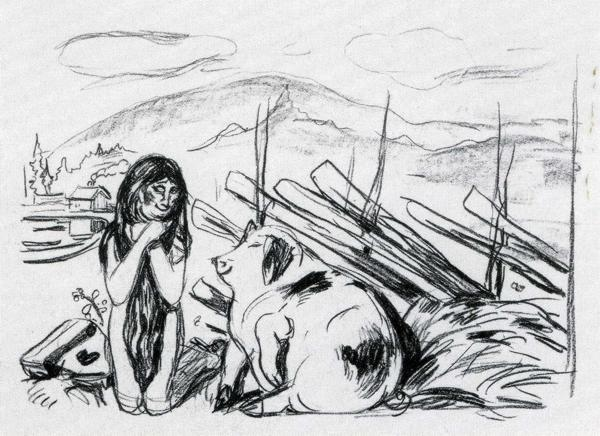 Edvard Munch. Omega and the Pig.  From  the series Alpha and Omega.